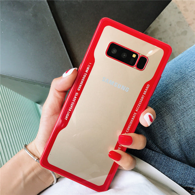 For Samsung Galaxy S9 Plus Note8 S9plus Note 8 Case Luxury Ultra Thin Back Hard PC Glass Phone Protective Cover Case Capa +Gift