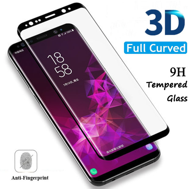 Full Curved Tempered Glass For Samsung Galaxy S9 Plus A3 A5 A7 J5 J7 J3 2017 Screen Protector Glass For A6 Plus A8 Plus J6 2018