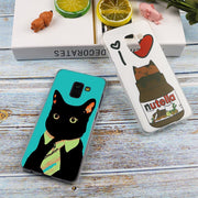 Fun Black Cat Falling Down Hot Transparent Case For Samsung Galaxy A3 A5 A9 A7 A6 A8 Plus 2018 2017 2016 Star A6S Note 9 8 Cover