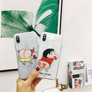 Funny Cartoon Clear Case For IPhone X 6S 6 Plus Crayon Shin-chan TPU Soft Capa Cover Housing For IPhone 7 8 Plus Fundas Hot Sale