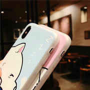 Funny Cartoon Phone Case For Iphone X Case For Iphone 6S 6 7 8 Plus Cover Cute Sleeping Cat Dog Soft TPU Cases