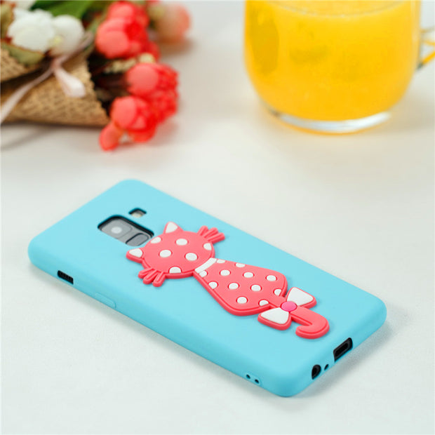 Funny Cute Cat Phone Case For Samsung Galaxy J3 J5 J7 A3 A5 A7 A8 2016 2017 2018 S7 Edge S8 S9 Plus Note8 Soft TPU Cartoon Case