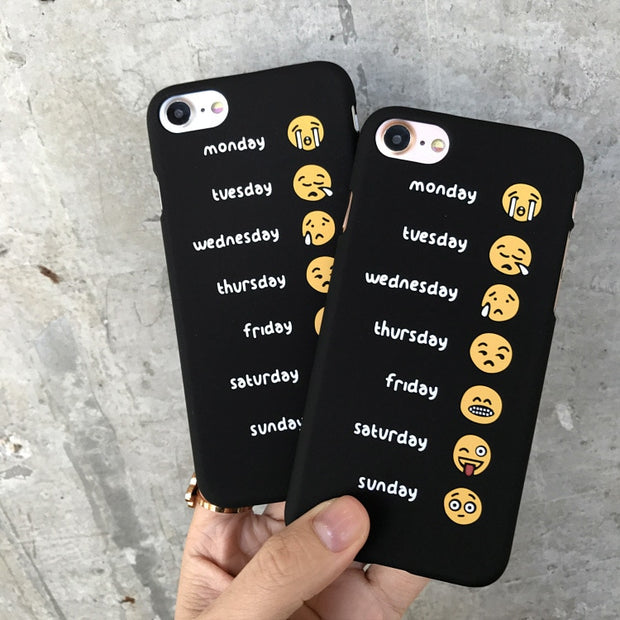 Funny Week Expression Smile Back Cover For Iphone7 Case Matte Plain Hard PC Phone Case For IphoneX 6s 6plus 7plus 8plus Cover