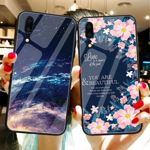 GerTong Fresh Flowers Tempered Glass Case For Huawei P20 Lite P 20 Pro Nova 3i 3 Soft Edge PC+Glass Back Cover Coque Phone Case