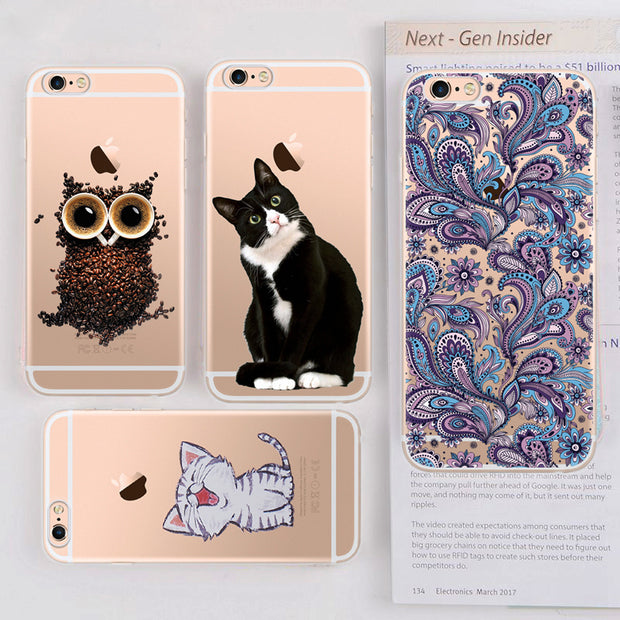 GerTong TPU Phone Case For IPhone 7 6 X 6S 5S SE 8 Plus 5 6 S Flower Black Cat Coffee Owl Painted Patterned Cases Transparent