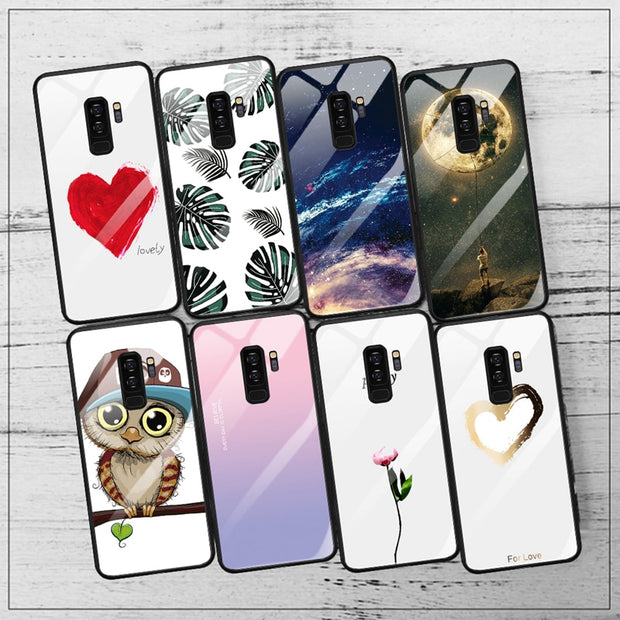 GerTong Tempered Glass Case For Samsung Galaxy S9 S8 Plus Silicone Coque Patterned Phone Cover Cases For Samsung Galaxy Note 8