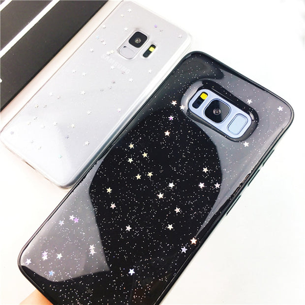 Glitter Case For Samsung Galaxy S7 Edge S8 Plus S9 Plus Sparkling Stars Clear Soft TPU Phone Back Cover For Samsung S9 S8 Cases