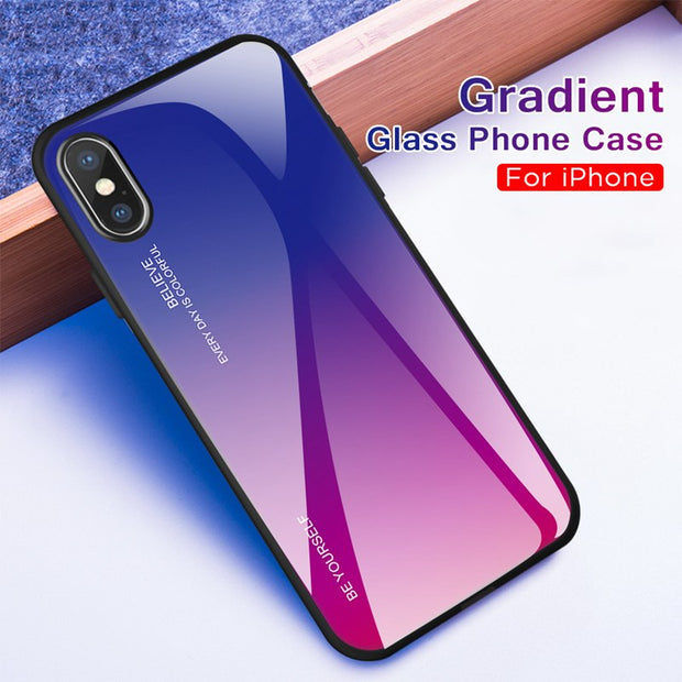 Gradient Phone Shell For Iphone X XS Max XR 10 Tempered Glass Case For IPhone XR XS XS Max X 10 Cover Colorful Coque