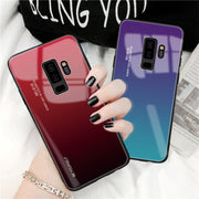 Gradient Tempered Glass Case For Samsung Galaxy S8 S9 Plus Note 8 9 J4 J6 Plus A7 2018 Phone Housing For Samsung A7 2018 Cover