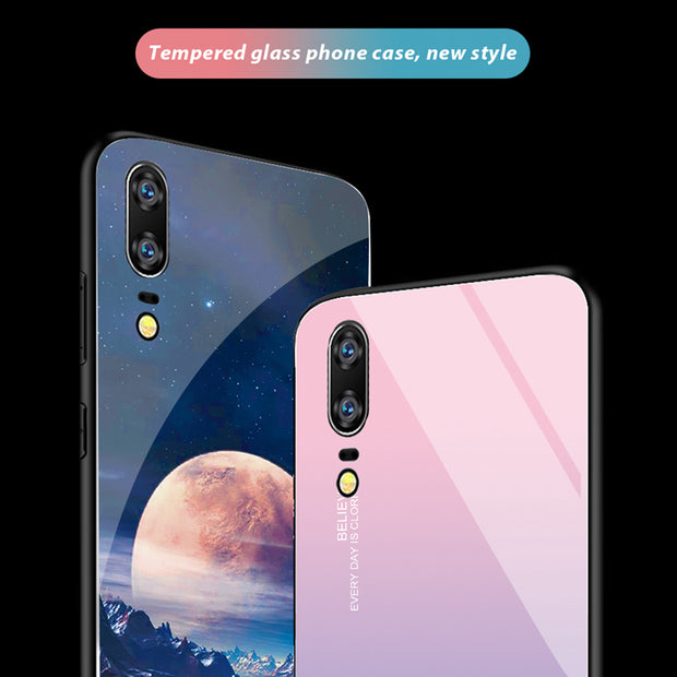 Gradient Tempered Glass Phone Case For Huawei P20 Pro Nova 3 3i Luxury Back Cover Case For Huawei P20 Lite Nova 3 3i