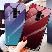 Gradient Tempered Glass Phone Housing For Samsung Galaxy S8 S9 Plus Note 8 9 J4 J6 Plus A7 2018 Cover Case For Samsung S8 Coque
