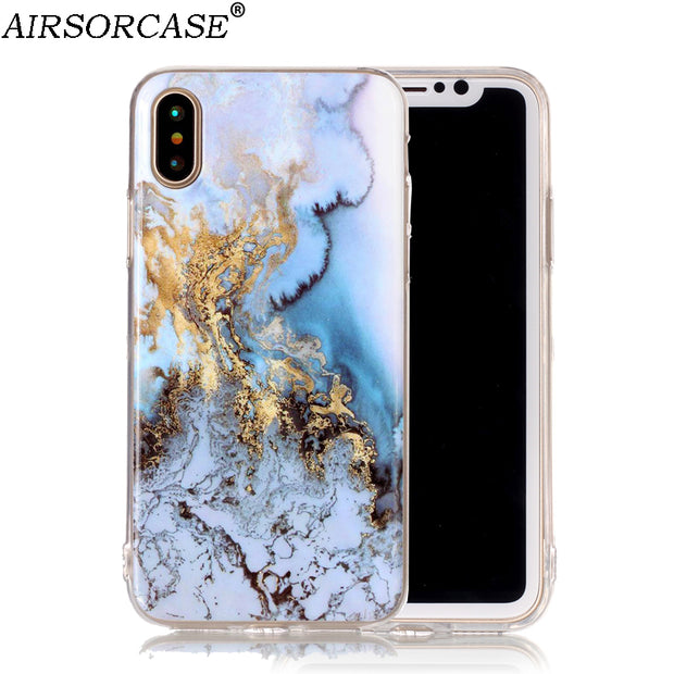 Granite Marble Phone Cover For Apple IPhone XS X 10 Case For IPhone X IPhoneX Case Soft Silicone TPU Back Cover Shell 5.8''
