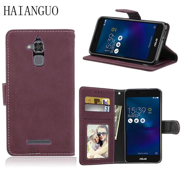 huge discount f3f43 c7947 HAIANGUO Luxury Retro Flip Case For Asus Zenfone 3 Max ZC520TL 5.2inch  Leather Wallet Cover For Asus ZC520TL Case Phone Coque