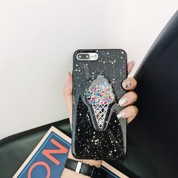 HAZEL Ice Cream Phone Case For IPhone 6 6S 7 8 Plus X Quicksand Transparent TPU Phone Back Cover For Iphone XS MAX XR Cases New