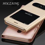 "HOLAZING Folio Flip Premium PU Leather PC Window View With Hole Bottom Cover Case For Meizu M5 Note M5Note 5.5"" Full Body Shell"