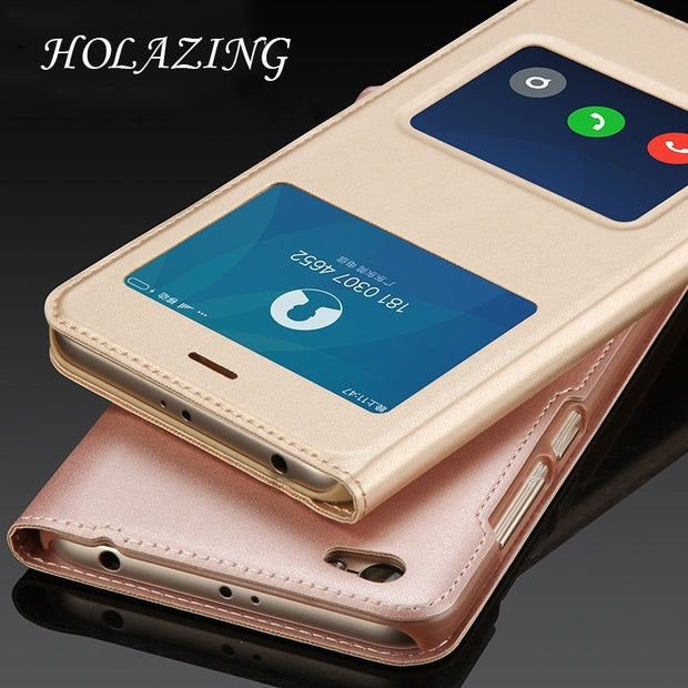 "HOLAZING Folio Flip Premium PU Leather PC Window View With Hole Bottom Cover Case For Xiaomi Redmi Y1 5.5"" Full Body Shell"