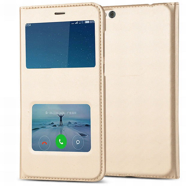 HOLAZING Folio Flip Premium PU Leather PC Window View With Hole Bottom Cover Case For Xiaomi Redmi 5A 5.0 Full Protective Shell