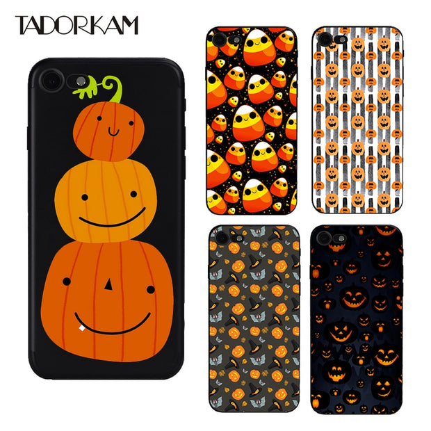 official photos 088d3 fc941 Halloween Phone Cases For Iphone 6 6s 7 8 Matte Soft TPU Silicon Black  Interesting Bat Pumpkin Phone Back Cover