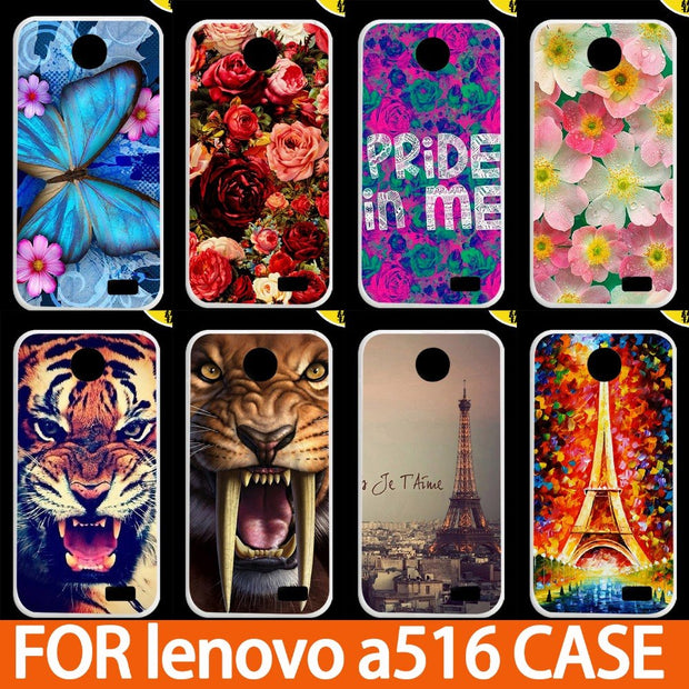 HighQuality Printing Flowers Animals And Eiffel Towers Painted Hard Plastic Cover Case For Lenovo A516 Mobile Phone Cover Cases
