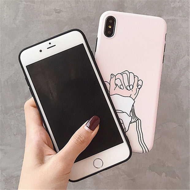 Holding Hands Matte Flower Phone Case For IPhone XS Max XR X 6 6S 7 8 Plus Cases Lotus Leaf Luxury IMD Back Cover