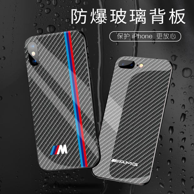 Hot Motorsport RACING SPORT RS Carbon Fiber Cover Case For Iphone 6 S Plus 7 8 Plus X XS MAX XR AMG Glass Luxury Car Phone Case
