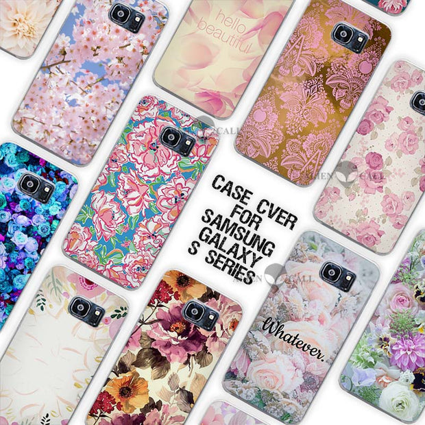 Hot Sale Beautiful Floral Clear Case Cover Coque Shell For Samsung Galaxy S3 S4 S5 Mini S6 S7 Edge Plus