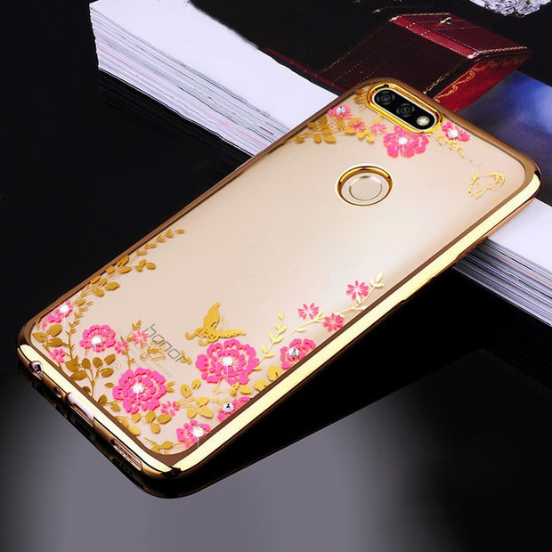 Huawei Enjoy 8 Plus Case Ultra Thin Plating Clear TPU Silicone Back Phone Cover Transparent For Huawei Y9 2018 Bag Coque (L0112)