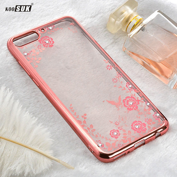 Huawei Honor 7A Case Cover Luxury Flower 3D Bling Diamond Silicone Soft TPU Shell For Huawei Y6 2018 Enjoy 8E Phone AUM-AL00 5.7