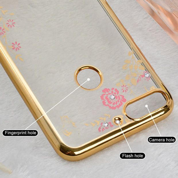 Huawei Honor 7A Pro Case Luxury Flower 3D Bling Diamond Silicone Soft TPU Cover For Huawei Y6 Prime 2018 Enjoy 8E Phone DUA-L22