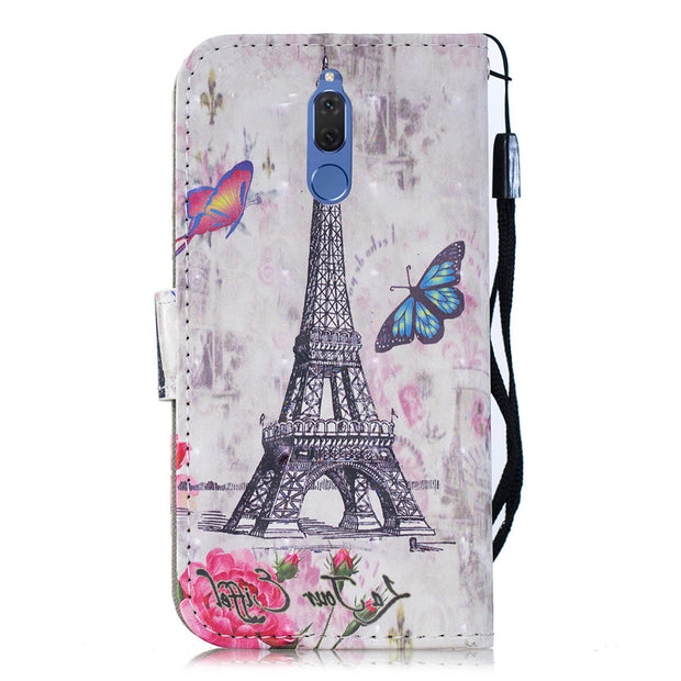 Huawei Mate 10 Lite Luxury Lovely Pattern Leather Cover For Huawei Mate 10 Lite / Nova 2i / Honor 9i Flip Bracket Wallet Case