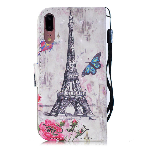 Huawei P20 Lite Luxury Lovely 3D Pattern Cover For Huawei P20 Lite/P20/P20 PRO PU Leather Flip Bracket Wallet Phone Case