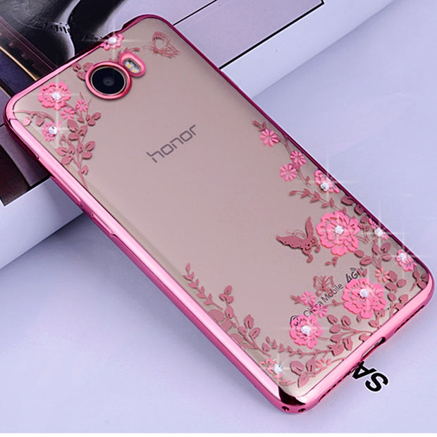 "Huawei Y5 Ii CUN-U29 5.0"" Case Diamond Transparent Soft Tpu Silicon Luxury Coque Cover For Huawei Y6 Ii CAM-AL00 5.5"" Phone Case"