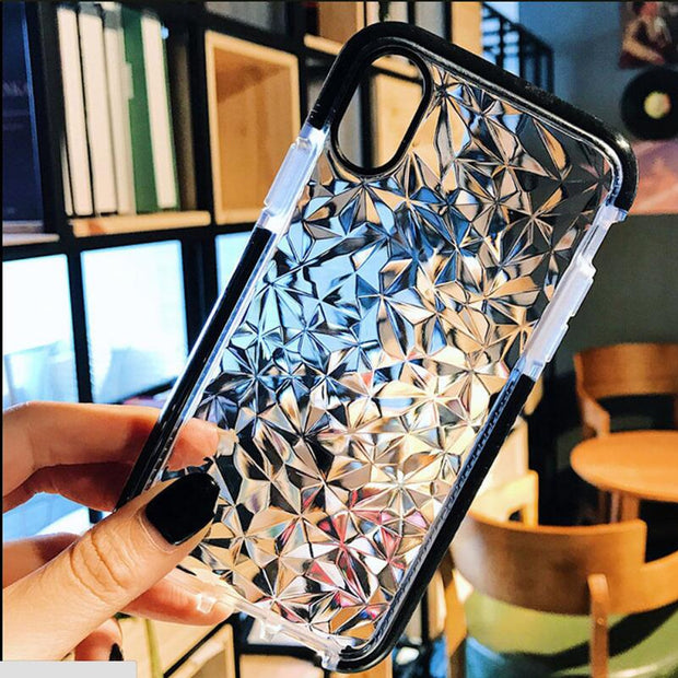 Hybrid Case For IPhone 7 6 6S 8 Plus X 3D Shining Diamond Clear Soft AirBag Shockproof TPU Crystal Clear Case For IPhone 6 Case