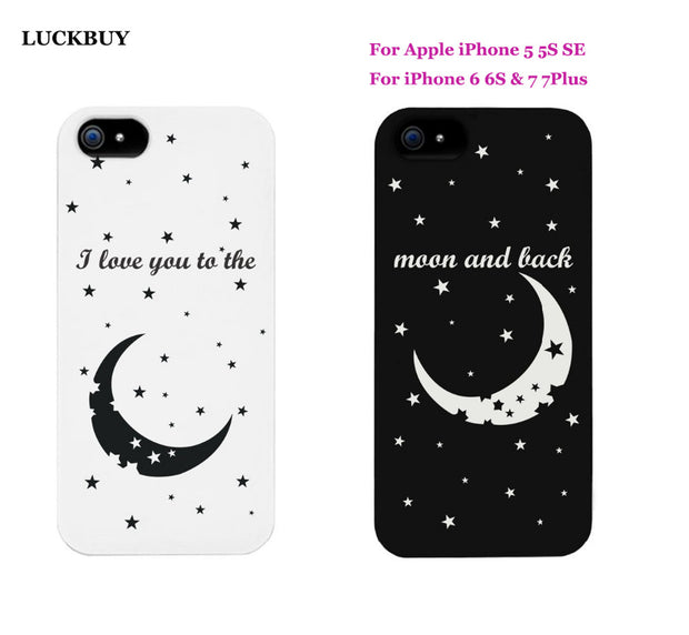 buy online 6b493 8def5 I Love You To The Moon And Back Couples Matching Cell Phone Cases For  Iphone7 5S SE 6G 6S Boyfriend Girlfriend Couple Of Cases