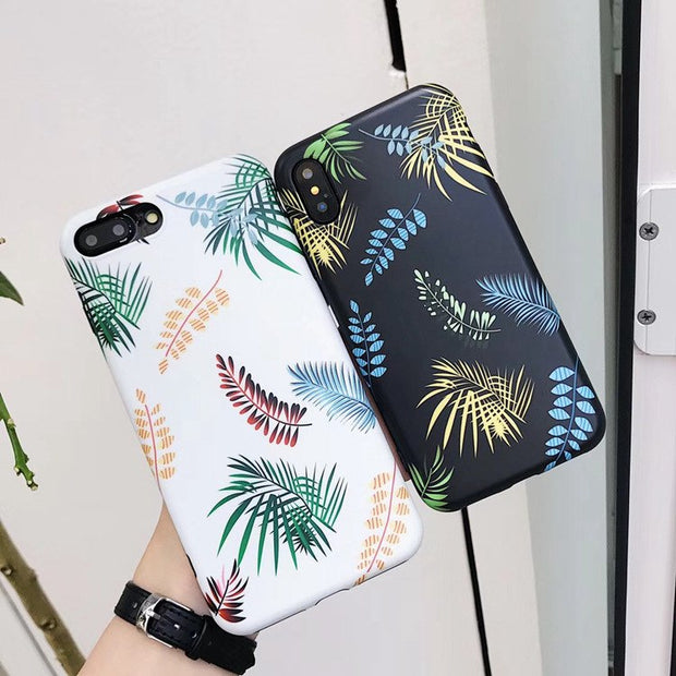 Individual Frosted Leaves Phone Case For IPhone 6 6S 7 8 Plus X XS Back Cover Soft TPU Matte Leaf Cases