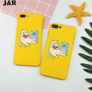 J&R Funny Cartoon Cat Phone Case For IPhone 8 7 6 6s Plus Yellow Fashion Matte Hard PC Cases For IPhone X IPhone 10 Cover