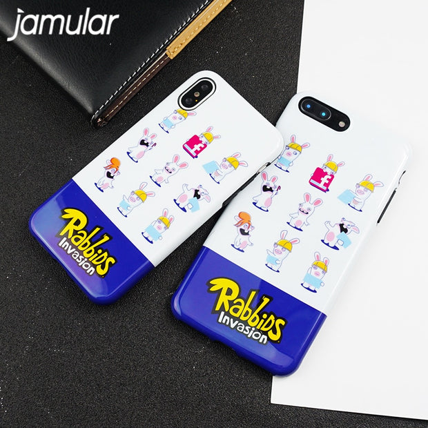 JAMULAR Cartoon Rabbit Print Phone Case For IPhone 8 X 7 6 6s Plus Cute Soft IMD Back Cover For IPhone 7 Ultra Thin Fundas Coque