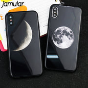 JAMULAR Planet Moon Patterned Phone Case For Iphone X 10 Hard Tempered Glass Phone Cases For Iphone X 10 Back Cover Fundas