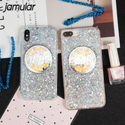 JAMULAR Shining Letter Phone Case For IPhone 6 6s X 7 8 Plus Bling Glitter Sequin Powder Soft TPU Back Cover For IPhone 7 Capa
