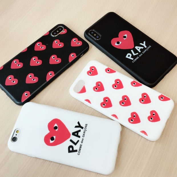 new concept 44fe1 d5047 Japan Comme Des GARCONS Play Phone Case For IPhone X XS Max XR 6 6S 7 8  Plus Shell For Samsung Galaxy S8 S9 Plus Note 8 9 Cover