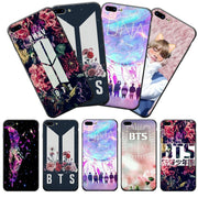 K-Pop BTS With Flower Phone Case Printed Soft Frame Hard Back IPhone Cases For IPhone X 8 7 6 6S Plus Phone Back Cover