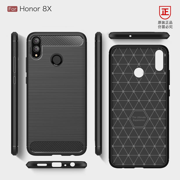 KEYSION Phone Case For Huawei Honor 8X 8X Max Carbon Fiber Soft TPU Silicone Brushed Anti-knock Back Cover For Honor 8X Max