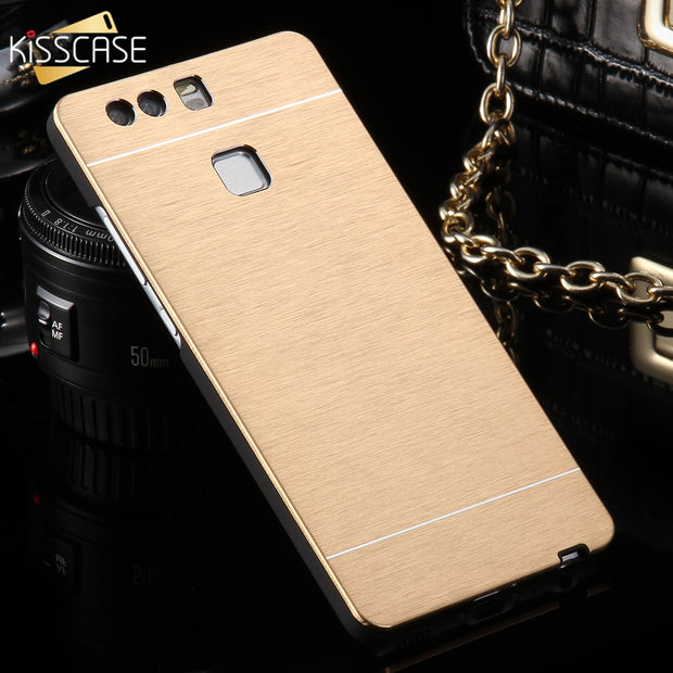 KISSCASE Metal Brush Phone Case For Huawei Honor 6 8 Cases Aluminum Hard Mobile Phone Cover For Huawei P9 P10 Lite Capinhas Capa