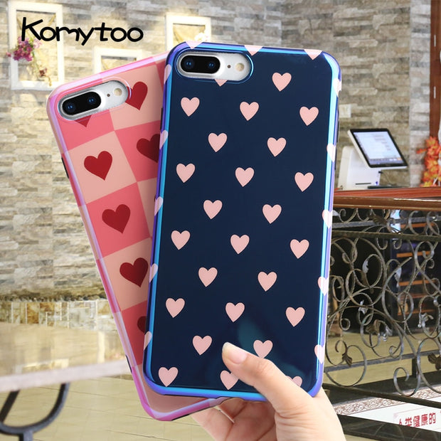 KOMYTOO TPU Phone Coque Case For IPhone 7 Case Shockproof Fashion Blue Ray Ultra Thin Soft Back Cover For IPhone X 8 7 6 6s Plus