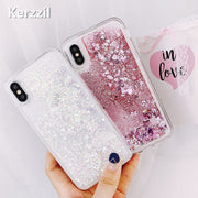 Kerzzil Love Heart Liquid Phone Case For IPhone X 8 7 6S 6 Plus 5 5S SE Quicksand Glitter Cute Soft Back Cover Shining Cases