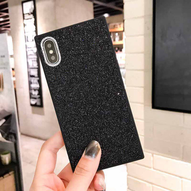 Kerzzil Luxury Glitter Powder Square Phone Case For IPhone 6 6S 7 8 Plus PC Shiny Hard Back Cover Coque For IPhoneX 10 Case Capa