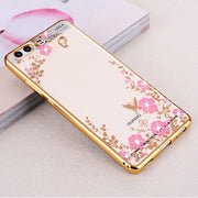Koosuk Luxury Cover Case For Huawei P10 Plus P10 Gold Soft Phone Original Flower Diamond Clear Tpu Silicon Silicone P10 Lite