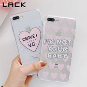 LACK Candy Color Love Heart Phone Case For Iphone X Case For Iphone 6 6S 7 8 Plus Cover Funny Cartoon Letters Couples Cases Capa