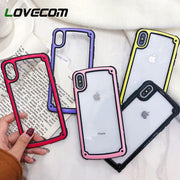 LOVECOM Acrylic Drop-proof Border Frame Soft Phone Case For IPhone X 6 6S 7 8 Plus XS MAX Couple Transparent PC Clear Back Cover