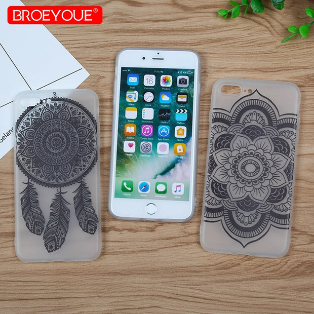 Lace Floral Case For IPhone 7 8 Plus Soft TPU Silicone Transaprent Sexy Black Retro Florals Phone Cover For IPhone 8 Plus 7 Plus